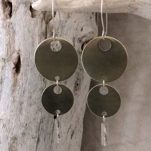 Sterling Silver 925 Flourite Dangle Brass Disk Ear